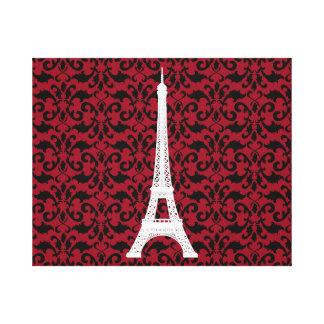 Silueta de la torre Eiffel damasco - rojo negro b