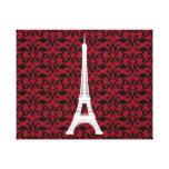 Silueta de la torre Eiffel, damasco - rojo negro b Impresion De Lienzo