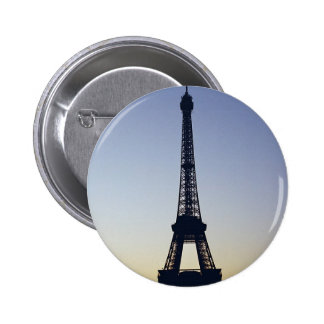 Silueta de la torre Eiffel Pin Redondo De 2 Pulgadas
