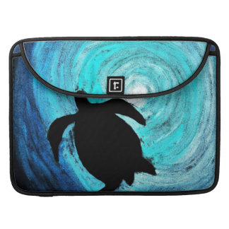 Silueta de la tortuga de mar (arte de K.Turnbull) Fundas Macbook Pro