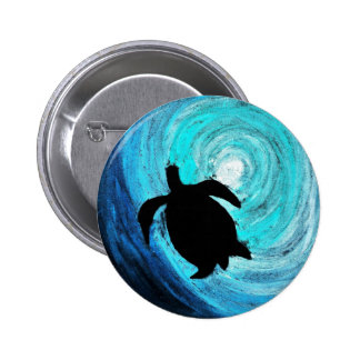 Silueta de la tortuga de mar (arte de K.Turnbull) Pin Redondo De 2 Pulgadas