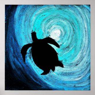 Silueta de la tortuga de mar (arte de K.Turnbull) Póster