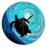 Silueta de la tortuga de mar (arte de K.Turnbull) Reloj