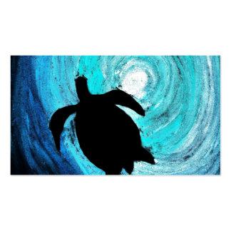 Silueta de la tortuga de mar (arte de K.Turnbull) Tarjetas De Visita