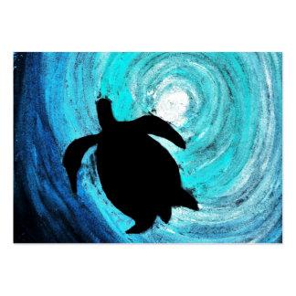 Silueta de la tortuga de mar (arte de K.Turnbull) Tarjetas De Visita Grandes