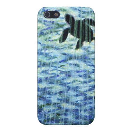 Silueta de la tortuga de mar iPhone 5 carcasas