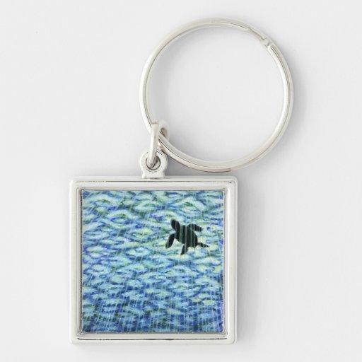 Silueta de la tortuga de mar llaveros