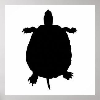 Silueta de la tortuga poster