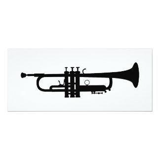 """silueta de la trompeta invitación 4"""" x 9.25"""""""