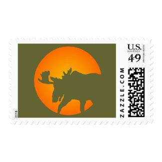 Silueta de los alces timbre postal