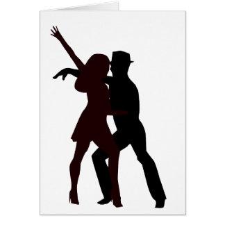 Silueta de los bailarines de la salsa tarjeta de felicitación