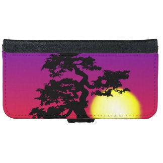 Silueta de los bonsais de la puesta del sol funda cartera para iPhone 6