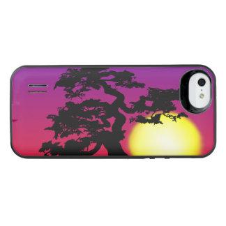 Silueta de los bonsais de la puesta del sol funda con bateía para iPhone SE/5/5s