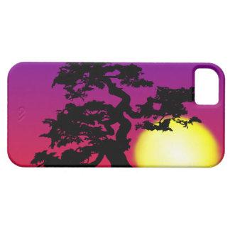 Silueta de los bonsais de la puesta del sol funda para iPhone SE/5/5s