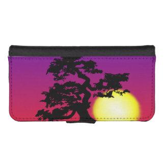 Silueta de los bonsais de la puesta del sol fundas billetera de iPhone 5