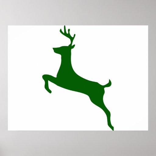 Silueta de los ciervos del verde caqui póster
