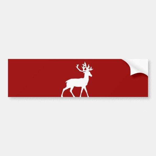 Silueta de los ciervos - rojo y blanco etiqueta de parachoque