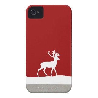 Silueta de los ciervos - rojo y blanco iPhone 4 Case-Mate protectores