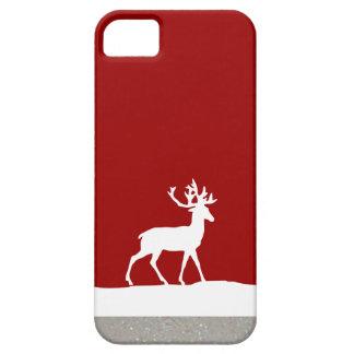 Silueta de los ciervos - rojo y blanco iPhone 5 cárcasa