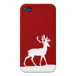 Silueta de los ciervos - rojo y blanco iPhone 4 protectores