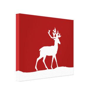 Silueta de los ciervos - rojo y blanco lona estirada galerías