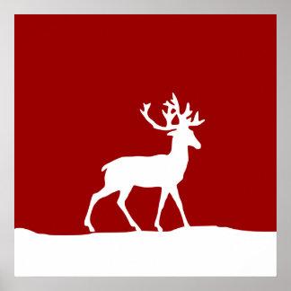 Silueta de los ciervos - rojo y blanco impresiones