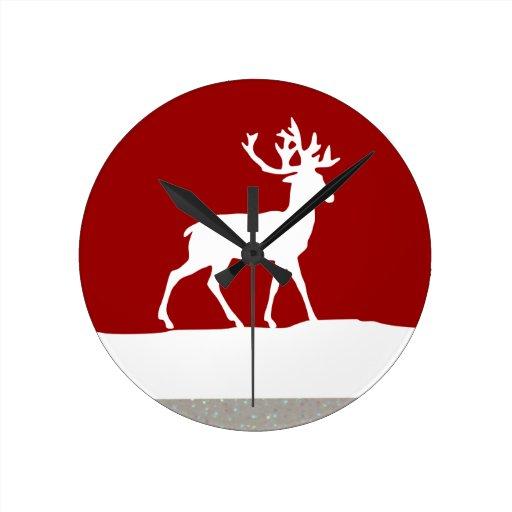 Silueta de los ciervos - rojo y blanco reloj