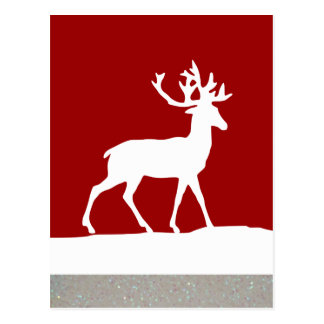 Silueta de los ciervos - rojo y blanco tarjeta postal