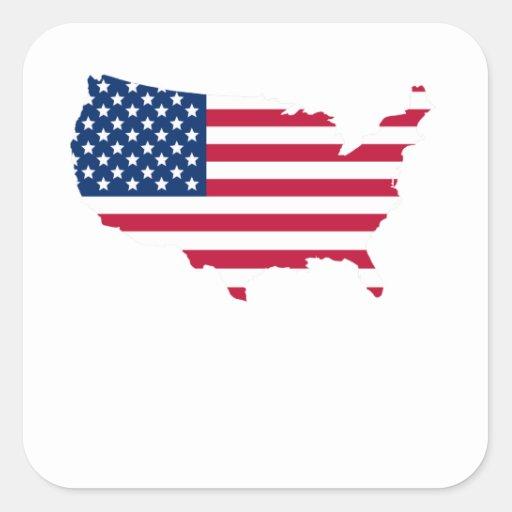 Silueta de los E.E.U.U. de la bandera americana Calcomanía Cuadradas Personalizada