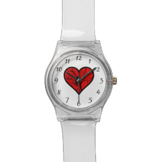 Silueta de los pájaros del amor del corazón del relojes de mano