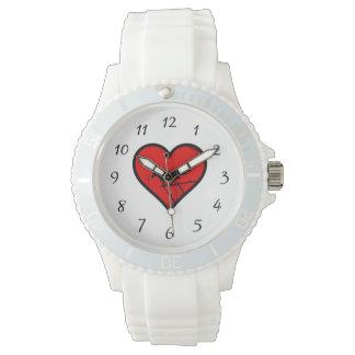 Silueta de los pájaros del amor del corazón del relojes de pulsera