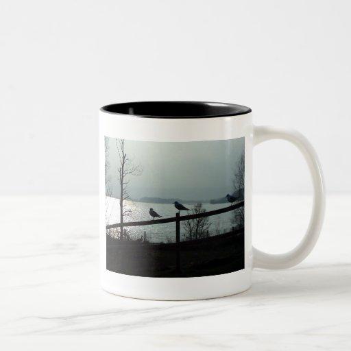 Silueta de los pájaros taza de café