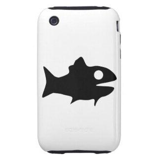 Silueta de los pescados tough iPhone 3 carcasa