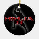 Silueta de Ninja Adorno Redondo De Cerámica
