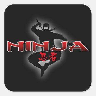 Silueta de Ninja Calcomanías Cuadradas Personalizadas