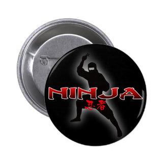 Silueta de Ninja Pin Redondo De 2 Pulgadas