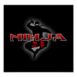 Silueta de Ninja Póster