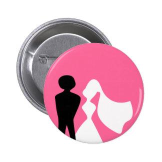 Silueta de novia y del novio que casa el Pin Pin Redondo 5 Cm