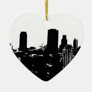 Silueta de Nueva York Adorno Navideño De Cerámica En Forma De Corazón