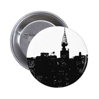 Silueta de Nueva York del arte pop Pin Redondo De 2 Pulgadas