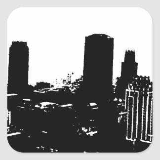 Silueta de Nueva York Pegatina Cuadrada