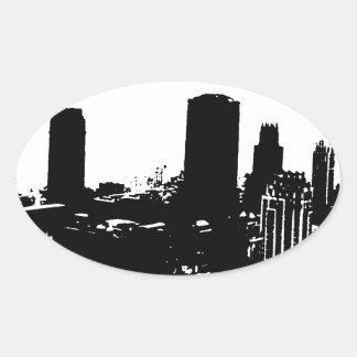 Silueta de Nueva York Pegatina Ovalada
