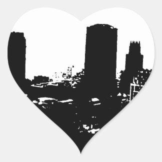 Silueta de Nueva York Pegatina En Forma De Corazón