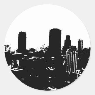 Silueta de Nueva York Pegatina Redonda