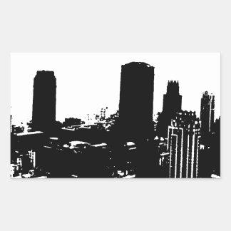Silueta de Nueva York Pegatina Rectangular