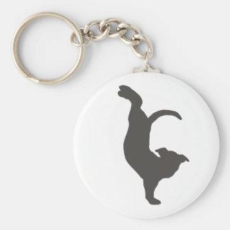 Silueta de Pitbull del perro de la yoga Llavero Redondo Tipo Pin