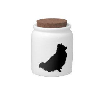 Silueta de Pomeranian Jarras Para Caramelos