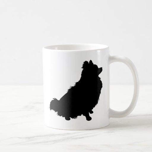 Silueta de Pomeranian Taza De Café