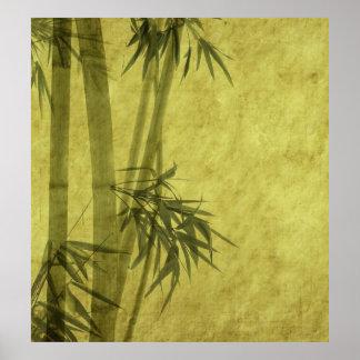 Silueta de ramas de un bambú en el papel póster