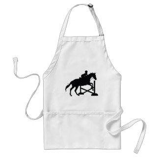 Silueta de salto del caballo delantales
